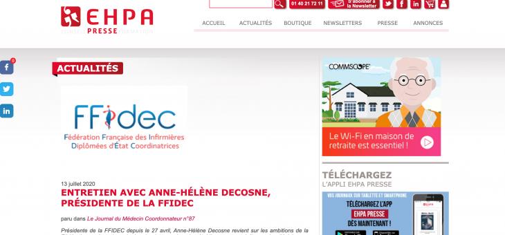 Entretien de la présidente de la FFIDEC, Anne Hélène Decosne  paru dans le journal du Médecin Coordonnateur n°87