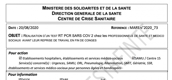 REALISATION D'UN TEST RT PCR SARS COV 2